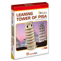 Wholesale-Freeshipping! MINI CubicFun 3D Jigsaw Puzzle LEANING TOWER OF PISA 3D paper model,DIY puzzle,Best Educational toys S3008