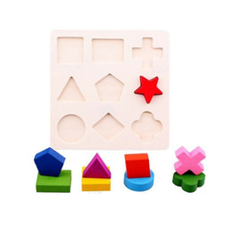 Wholesale set Hot Child multi colored geometry puzzle baby puzzle wooden toy shape color classification FZ1696