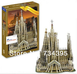 Wholesale d PUZZLE Sagrada Familia Cathedral in Barcelona Spain diy paper model creative gift adult children educational toys