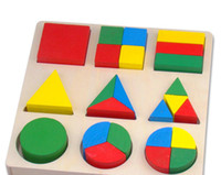 animal shapes tray - Exempt postage geometry core color stereo shape fraction tray blocks baby educational wooden toys montessori teaching AIDS