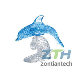 Wholesale-Free shipping Light Big Dolphin Puzzle,3D Crystal Puzzle Decoration Big Dolphin Puzzle IQ Gadget Hobby Toy Gift