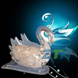 Wholesale-Free Shipping Flash Swan Puzzle,3D Crystal Puzzle Decoration Flash Swan Puzzle IQ Gadget Hobby Toy Gift