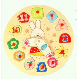 2017 reloj digital de la geometría juguete al por mayor-Educativo para Niños Digital Geometría relojes de madera Puzzle juguetes Buen regalo del envío libre reloj digital de la geometría en oferta