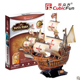 Wholesale DIY D Paper jigsaw Puzzle building Model ship model puzzle craft kids Eductional Toy christmas Gifts Santa Maria