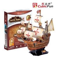 Al por mayor-Nueva auténtica CubicFun 3D modelo de barco de papel rompecabezas T4008h Santa Maria - Tapa dura