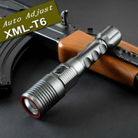 auto xml - New Rechargeable LED Flashlight Torch Auto Adjust Focus Cree XML T6 LED Zoomable Waterproof Flash Light Lamp Charger