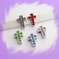 Wholesale 50pcs mm Latin Cross Slide Charms Fit Pet Collar Necklace Bracelet Cell Phone Charms