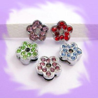 Wholesale 100pcs mm Flower Slide Charms Fit Pet Dog Collar Phone strips mix color