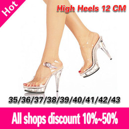 Boda de la sandalia del tacón alto cm en venta-Wholesale-La Mujer Sexy Tacones Altos 12 CM sandalias de correa de cristal transparente / zapatos de tacón alto de la boda