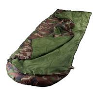 Al por mayor-Ejército del camuflaje del verde del sobre con capucha Aire libre Camping hora del almuerzo sacos de dormir de algodón Primavera Verano Otoño adulto impermeable