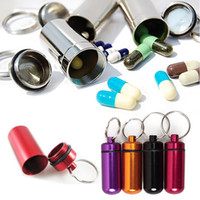 Cheap Wholesale-Mini Aluminum Pill Medicine Box Case Bottle Holder Container Keychain Key Chain Organizer 0043
