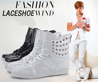 justin boots - New rivet punk style men martin boots fashion high top supreme sneakers justin bieber hip hop dancing shoes size