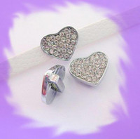 Wholesale 50pcs mm Heart of rhinestone Slide Charms Fit Pet Collar Necklace Bracelet Cell Phone Charms