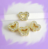 Wholesale 50pcs mm Gold Color Butterfly Slide Charms Fit Pet Collar Necklace Bracelet Cell Phone Charms