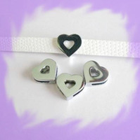Wholesale 50pcs mm Chrome Heart Slide Charms Fit Pet Collar Necklace Bracelet Cell Phone Charms