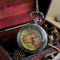 antique maps - Hot Sale Vintage Antique style Flower Back Map Shape Pocket Watch