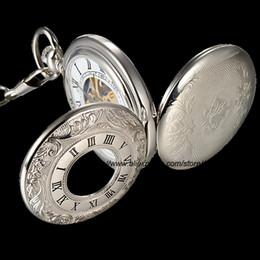 Wholesale-Silver Mechanical Steampunk Skeleton Roman Lid Full Hunter Hand-winding Pendant Pocket Watch