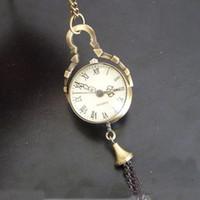 balls clock - Crystal Ball Pocket Watch Rome Number Quartz Watch Necklace Pendant Women Dress Watch Clock Steampunk Bronze Watch