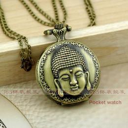 Wholesale A107 Antique Vine X37MM Buddha Quartz Pocket Watch Pendant Necklace