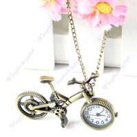 bicycle chain design - Retro Mini Bronze Bike Bicycle Design Quartz Pocket Watch Pendant Necklace Chain