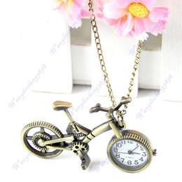 Wholesale Retro Mini Bronze Bike Bicycle Design Quartz Pocket Watch Pendant Necklace Chain
