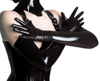 Mittens Solid One Size Wholesale-Women's Sexy Gloves Black Faux Leather Latex Gothic Fetish Clubwear Gloves Hip-pop Jazz Five Fingers Long Gloves
