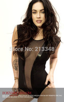 american apparel mesh - new fashion Megan fox american apparel sexy classic crape patchwork one piece vest mesh pu bodysuit AF0626