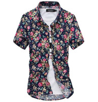 hawaiian shirts - In the summer of the new men s leisure Hawaiian shirt with short sleeves fashionable man slim wild flower printed shirt