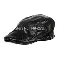 basque berets - Waterproof Black PU Leather Franch Berets Basque Beret Flat Cap Fishing Shotting Gatsby Driving Peaked Hats Boina