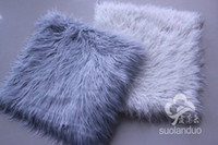 Wholesale brand new long faux fur chair cushion seat pad gray white