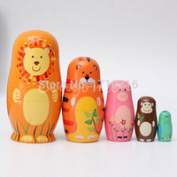 best wood home decorations - Best Promotion Set of Cute Wooden Nesting Dolls Matryoshka Animal Russian Doll Home decoration Wood crafts Birthday gifts