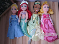 Wholesale New set Disny Princess Aurora Tiana Mermaid Ariel Cinderella Doll Plush Boneca Princesa Princesinha Pelucia Dolls Toys cm