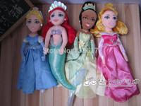 aurora plush toys - New set Disny Princess Aurora Tiana Mermaid Ariel Cinderella Doll Plush Boneca Princesa Princesinha Pelucia Dolls Toys cm