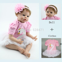 Cheap Wholesale-22 inches Soft Silicone Reborn Baby Dolls With Pink Dress Realistic Princess Dolls Toy Reborn Babies Dolls Collection