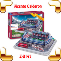 Wholesale New Year Gift Z B147 Atletico Madrid Home Field Vicente Calderon Stadium D Puzzle Model Scale Puzzle DIY Paper Puzzle For Fans