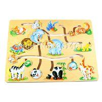 b intelligence - Children Kids Wood Animals Find Heads Maze Puzzle Slide Early Childhood Learning Educational Environmental Intelligence Toys B