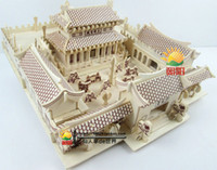 ancient chinese temple - D Wood Puzzles Creative gifts house scene model ancient Chinese architecture model toys shaolin temple for baby fun toy