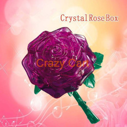 Wholesale-Special Kids Toys for Children 3D Crystal Puzzle - Purple Rose Free Shipping Wholesale