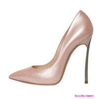 pink ladies shoes - New Plus Size Genuine Leather Elegant Neon Pink Green Thin Heel Ladies High Heels Party Pumps Shoes for Women