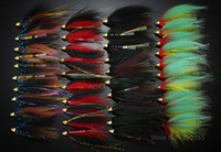 Soft Baits Jigs Saltwater Wholesale-40Pcs Tube Flies Cone Heads Black Red Green Salmon And Sea Trout Fly Fishing Flies Lures