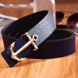 Wholesale-New 2015 style casual sea anchor leather belt for men women luxury designer belt 10 color cinto masculino free shipping