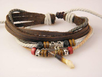 Wholesale New Ethnic Mens Genuine Leather Hemp Bracelets Agate Beaded Jewelry Mix Order s