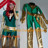 Wholesale DHL Jean Grey Costume X Men Phoenix Lycra Spandex Green and Shiny Metallic Gold Superhero Zentai Catsuit Halloween