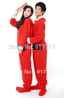adult footed pajamas christmas - New Fleece Cotton Adult Unisex Christma Santa Claus Footed Pajamas Sleepsuit All in one Cosplay Pyjamas Onesie All Size S M L