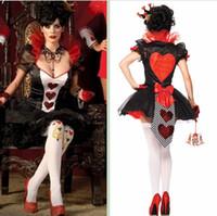 achat en gros de coeurs queen, plus-Gros-2015 Nouvelle Collection Halloween Costume Sexy Queen of Hearts Costume Plus Size Costume Femmes Costume Sexy Robe