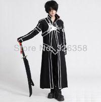 art supplies online - Anime Sword Art Online Kirito Kazuto Kirigaya Cosplay Black Costume Halloween Party decorations supplies