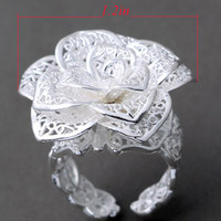 Wholesale Brand New Silver Charms Rose Flower Fashion Rings