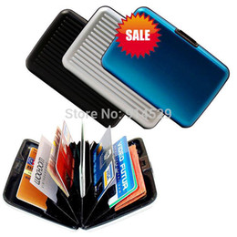 Wholesale Hasp Trunk Solid Sale Surface Waterproof Fashion Aluminum Card Holder Package Id Credit Wallet Case Pocket Purse Cardholder