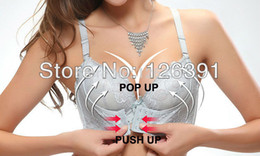 Wholesale New Fashion Plus Size Black Lace Super Push Up Bra With Front Closure amp massage oil water bag Intim Underwear Women MT