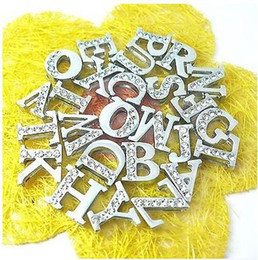 Wholesale mm A Z MM Half rhinestone slide letters DIY letter jewellery rhinestones DIY charms letter charms for earring